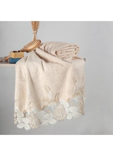Nazik Home Floransa Dantelli Banyo Vücut Havlusu (90 x 150 cm) %100 Pamuk Bej